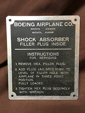 Boeing Stearman PT-17/N25 Service Instruction Plate
