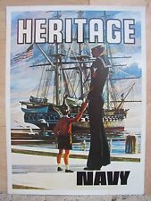 Original 1970s Navy Recruiting Metal Sign 2 side Heritage & Guardians of Freedom