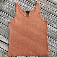 LANE BRYANT Women's Plus Size 3X 22/24 Stretch Knit Brown & Gold Tinsel Top