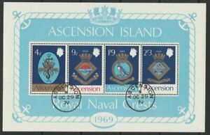 ASCENSION 1969 Naval Crest 1st series sheet MS125 used