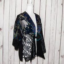 SPENCER ALEXIS Floral Semi Sheer Cover Jacket Kimono Sleeve Black Blue Sz Medium