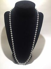 """Ladies 925 Sterling Silver Beaded Necklace 24"""""""