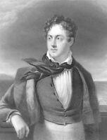 Romantic Poet GEORGE GORDON LORD BYRON GREEK WAR ~ 1833 Art Print Engraving RARE