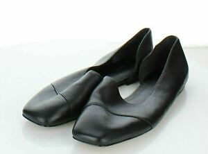 10-15  NEW $275 Women's Sz 8 M Vince Cyder Leather d'Orsay Flat In Black