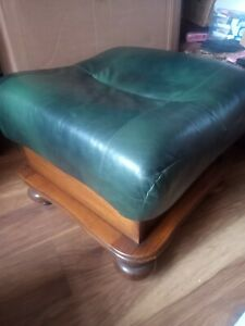 """Green Leather chesterfield footstool 22x22x18"""" collect Wigan may deliver local"""