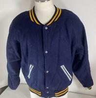 Vintage Keystone Custom Wool Letterman Jacket Blue Yellow Michigan SIZE 42 LARGE