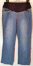 Womens Duo Maternity Denim Blue Jeans Sz Large Cotton Spandex Flair Leg J30