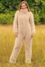 Hand knitted sweater beige fuzzy mohair catsuit sweater SUPERTANYA ski bodysuit