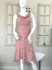 Ann Taylor Size 4P Pink Silk Paisley Dress Hi-Low Flounce Hem Shift Sleeveless