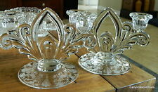 PAIR Elegant Cambridge Glass Rose Point 2 Lite Candle Holders~  FREE SHIPPING!