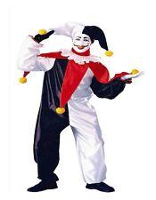 Adulto Men's Jester Costume Divertente Clown Punch JOKER MIME Fancy Dress Party