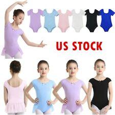 US Girls Ballet Dance Leotards Kid Gymnastics Skirted Bodysuit Sleeved Dancewear