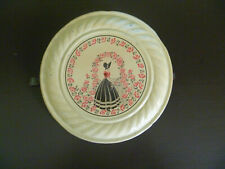 Vintage Stove Pipe Tin Chimney Flue Cover - Lady in Bonnet Walking In Garden