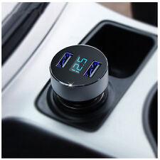 DUAL USB DC 5V 3.1A Adattatore Caricabatterie per Auto Tester di tensione per iPhone Samsung Blu