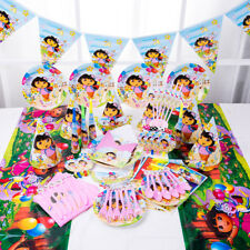 89Pcs Dora Explore Kids Birthday Party Table Cover Plates Decoration Banner Card