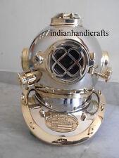 Boston Equipment Us Navy Diving Divers Helmet Chrome Brass Deep Sea Scuba Xcf8Z