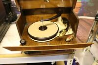 vintage antique HMV record player model 1227 Art Deco  slide out walnut veneer