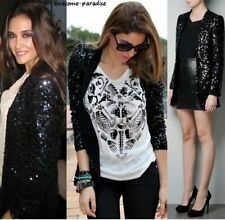 RARE ZARA BLACK BLAZER LACE SEQUINNED JACKET COAT SEQUINS SMALL - S