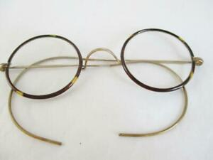 PAIR ANTIQUE SPECTACLES / GLASSES ROUND FAUX TORTOISESHELL with FLEXI WIRE ARMS