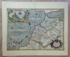 MOROCCO 1633 GERARD MERCATOR/JODOCUS HONDIUS LARGE ANTIQUE ENGRAVED MAP