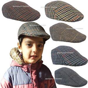 Kids Child Boys Girl Flat Cap Tweed Check Herringbone Newsboy Peaky One Size Hat
