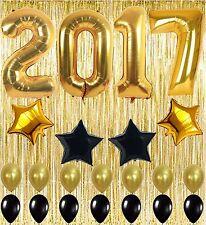 2017 Balloons, , Gold Foil Fringe Curtain, Graduation Party Supplies Black White