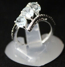 Sky Blue topaz (Pear) White Topaz Ring Size 5 TGW 2.35 Cts. Sterling Silver