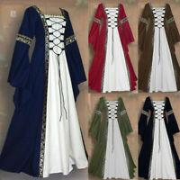 Women Vintage Celtic Medieval Floor Length Renaissance Gothic Cosplay Maxi Dress