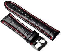 Bracelet de Montre en Cuir Aspect Croco Noir Avec Couture Rouge 18-24mm