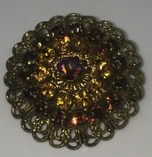 Vintage Amber Colored Crystal AB Round brooch Made In Germany