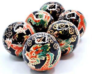 4PC 30 MM Cloisonne Enamel Beads. Hand Painted Black Enamel & Orange Dragon