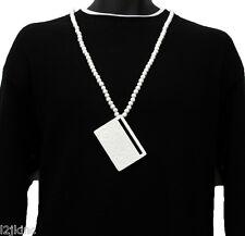 Men White Boom Box Radio Pendant Wood Hip Hop Ball Beaded 36 Inch Chain Necklace