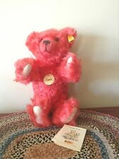"STEIFF ""CLASSIC TEDDY BEAR"" MOHAIR-WATERMELON RED-11""-PRESS ME VOICE-CHARMER"