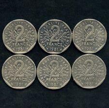 Lot Of 6 France 2 Franc Coins 1979 1980 1981 1982 1983 &1998