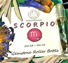SCORPIO Zodiac Roller Bottle Crystal Set for Essential Oil Astrology Wicca Gift