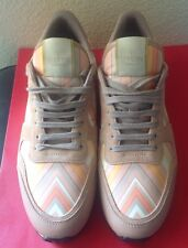 VALENTINO WOMENS BEIGE LEATHER SNEAKERS SZ.41 USED ITALY NO BOX