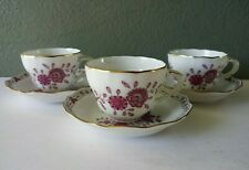 HUTSCHENREUTHER - FINE PORCELAIN DEMITASSE CUPS & SAUCERS - SET OF 3 - GERMANY
