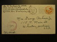 1945 US Navy Reserve Postmark to Wheaton Illinois Military WWII Censorship Cover