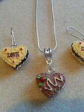 LOVE CAKE NECKLACE AND EARRING SET