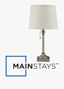 """MAINSTAYS 19""""H SILVER FINISH PULL CHAIN ACCENT TABLE LAMP w/ LIGHT BEIGE SHADE"""