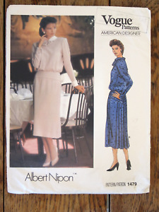 Vogue American Designer Pattern #1479 Albert Nipon Dress Size 12 Bust 34 UNCUT