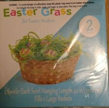 """Easter Grass for Easter Baskets 2 CT Green Swirls 42"""" Long Fills 2 Large Baskets"""