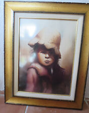 Signed Original Beautiful Watercolor Portrait Of A  Bolivian Aymara Little Girl