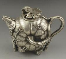 China Antiques Tibetan Silver hand carved pumpkin Cicada Teapot wine pot Statue