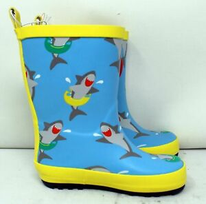 Sun Squad Kids' Gardening Boots Medium (7/8) Light Blue/Yellow Sharks