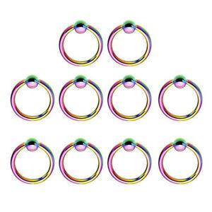10pcs Steel Captive Bead Ring BCR Cartilage Ear Piercing Tragus Nipple Lip Hoop