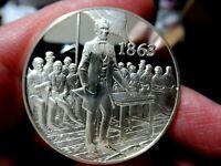 Silver Medal, 1863 Gettysburg Address, Lincoln, 1.05 Troy Oz. Sterling Silver