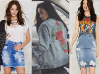 Womens DENIM JACKET Oversized Top Jeans Bodycon Ripped Frayed Pencil Midi Skirt