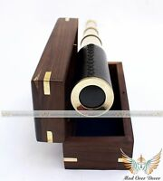 "NAUTICAL VINTAGE MARITIME BRASS 14"" PIRATES SPYGLASS TELESCOPE WITH WOODEN BOX"
