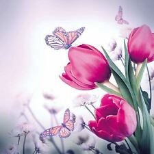 "Tulipanes Mariposas Rosa Gris 3 capas 20 servilletas de Papel 13"" x13"""